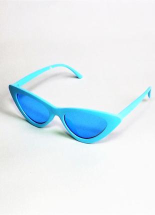 Солнцезащитные очки женские лисички голубые кошачий глаз