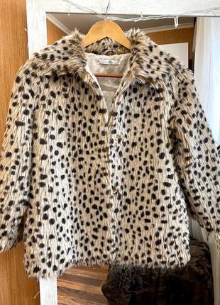 Детская шубка в леопардовый принт marks&spencer