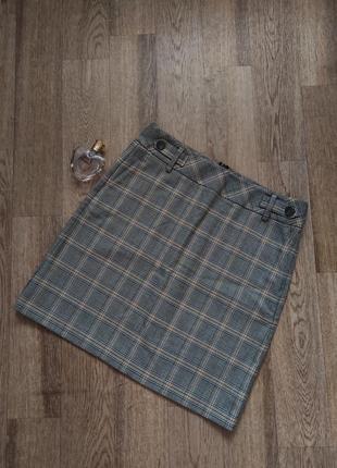 Трендовая юбка трапеция в клетку с карманами от next