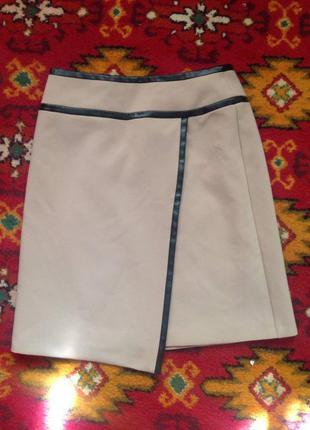 Шкіряна юбка з шкіряними вставками
