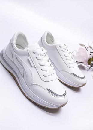 Кроссовки белые стильные эко кожа рефлективные вставки