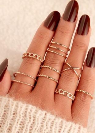 Модный комплект колец кольца на фаланги 8 шт под золото