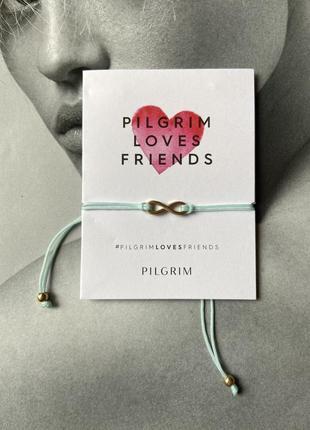 Браслет шелковая нитка позолота pilgrim