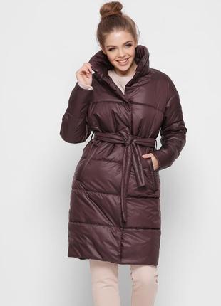 Куртка длинная стеганая с поясом x-woyz 8890 размеры 42- 48