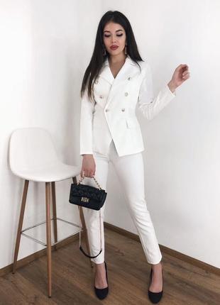 Классический брючный костюм брюки высокая посадка пиджак на пуговицах опт