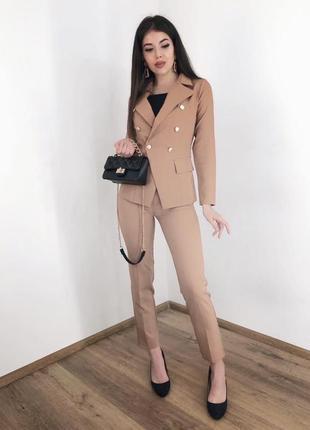 Классический брючный костюм брюки в обтяжку высокая посадка пиджак на пуговицах опт