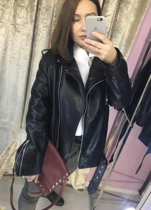 Куртка косуха в стиле zara  чёрная оверсайз экокожа