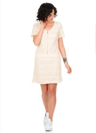 Кружевное кремовое платье мини la redoute.