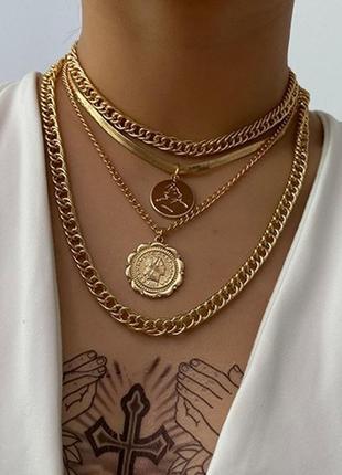 Цепочка крупная цепь колье ожерелье чокер 4 цепочки с кулоном под золото золотистая новая