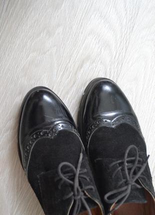 Туфли-ботинки осенние оксфорды кожаные /классические туфли