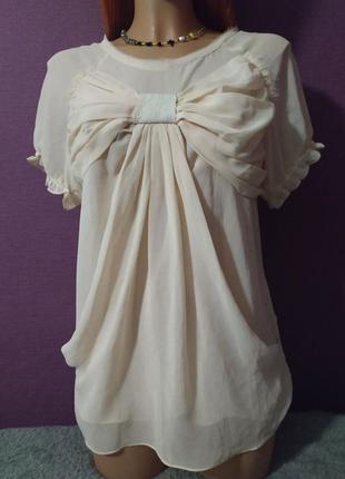 Женственная блуза футболка шелк бант3 фото
