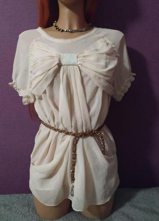 Женственная блуза футболка шелк бант1 фото