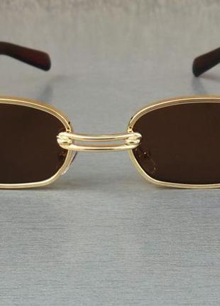 Gentle monster стильные солнцезащитные очки унисекс коричневые в золоте с сережкой