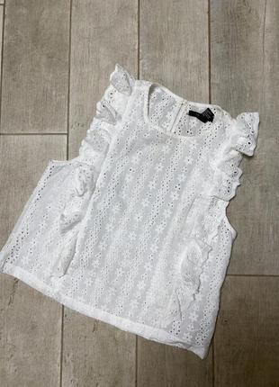 Белая блузка кроше,белая майка