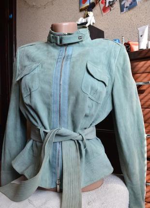 Karen millen брендовая кожаная замшевая куртка.