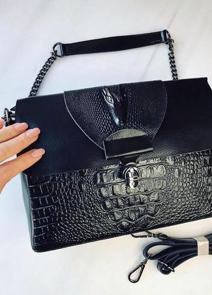 Женская кожаная сумка с цепочкой на плечо черная жіноча шкіряна сумка