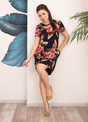 Цветочное свободное платье баллон на кулиске, множество размеров