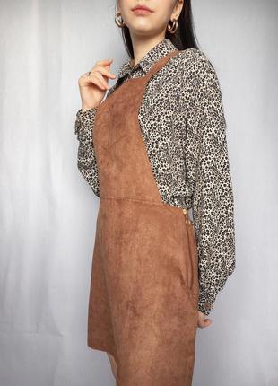 Сарафан под замш трендовый на подтяжках стильный платье на замке4 фото