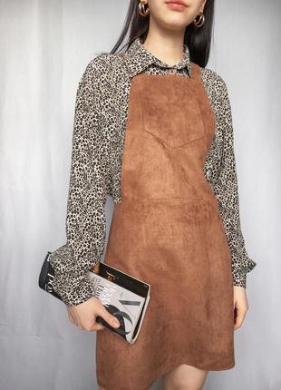 Сарафан под замш трендовый на подтяжках стильный платье на замке1 фото