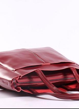 Женская кожаная сумка красная сумка с длинными ручками  класична червона жіноча сумка2 фото
