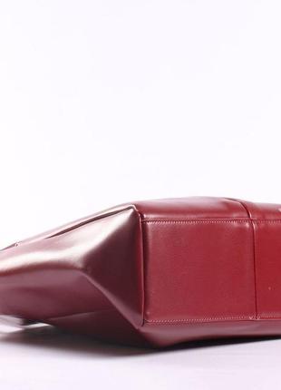 Женская кожаная сумка красная сумка с длинными ручками  класична червона жіноча сумка4 фото