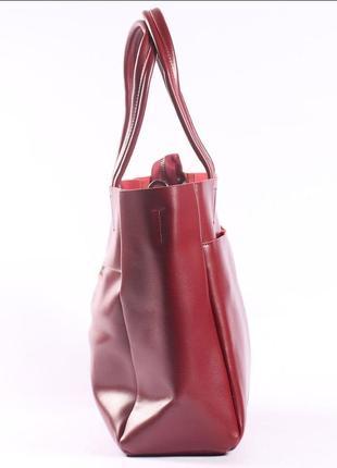 Женская кожаная сумка красная сумка с длинными ручками  класична червона жіноча сумка5 фото