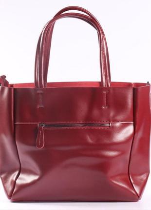 Женская кожаная сумка красная сумка с длинными ручками  класична червона жіноча сумка6 фото