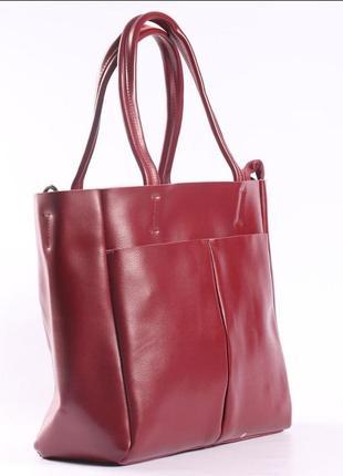 Женская кожаная сумка красная сумка с длинными ручками  класична червона жіноча сумка3 фото