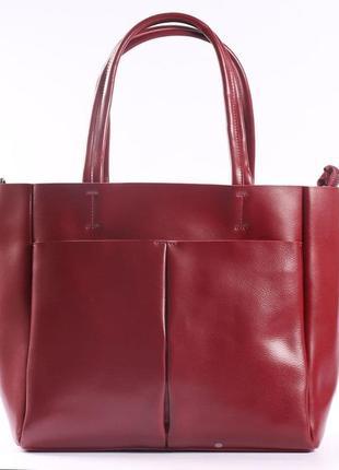 Женская кожаная сумка красная сумка с длинными ручками  класична червона жіноча сумка