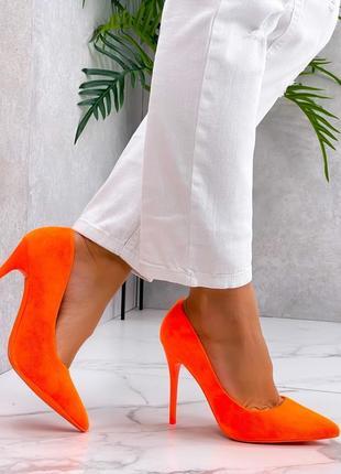 Лодочки туфли оранжевые стильные эко замша