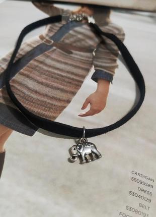 Чокер колье кулон слон серебристый подвеска