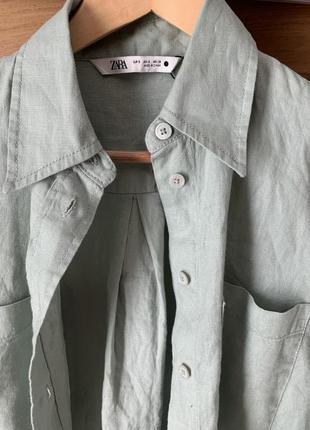 Zara рубашка 36 s 💯 лён качество стиль