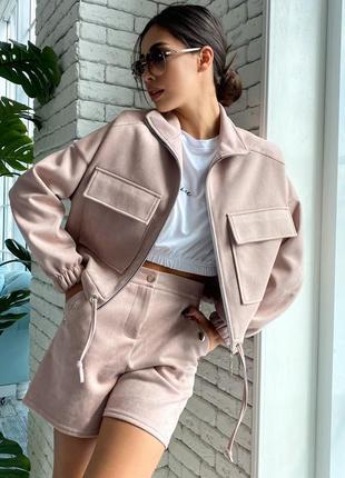Женский замшевый костюм-тройка с курткой и шортами (образ 23 svtt)
