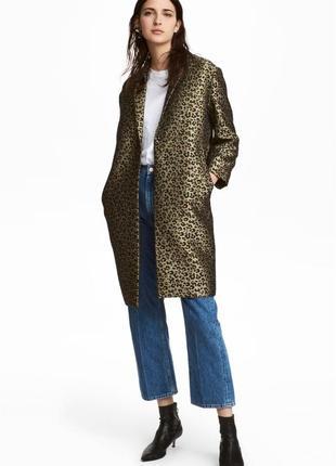 Жаккардовое пальто h&m 38 зеленое 5610896rp21