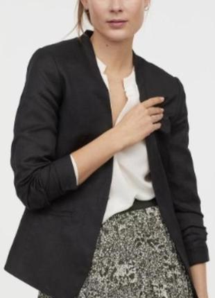 Льняной пиджак смокинг удлиненный блейзер h&m