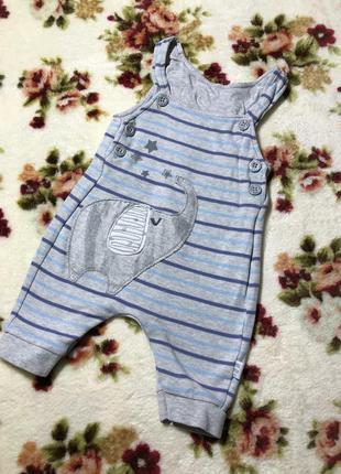 Детский хлопковый полосатый комбинезон с рисунками debenhams ( дэбэнхэмс 0-3 месяца)