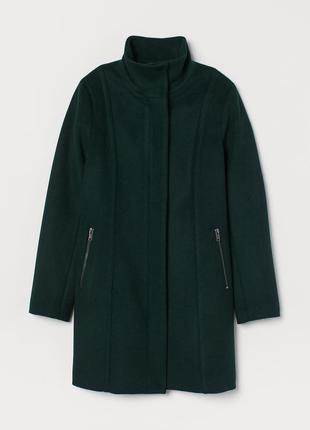 Пальто шерстяное h&m 36 темно-зеленый 6617940wt