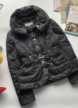 🧥оригинальный короткий чёрный пуховик karen millen/куртка-пуховик с поясом karen millen🧥