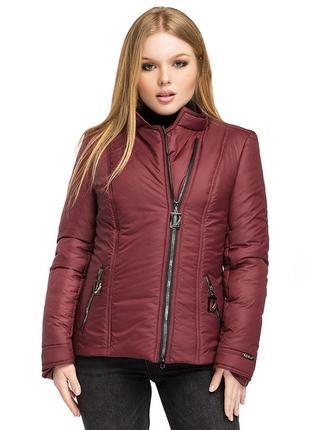 Куртка, косуха женская демисезонная леона / р.48-58 / бордо