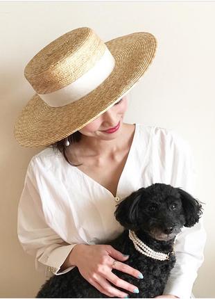 Соломенная шляпка канотье с белой лентой (поля 9 см)