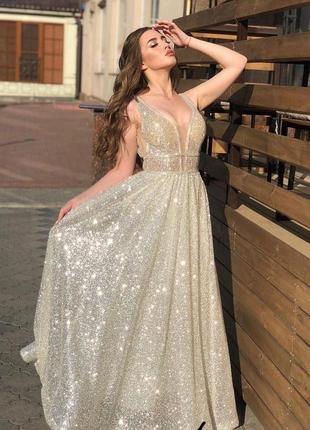 Красивое мерцающие платье с люрекса