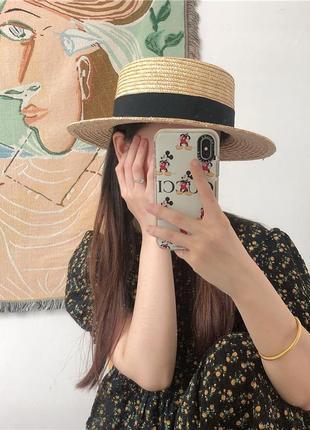 Соломенная шляпка канотье с черной лентой (поля 7 см)