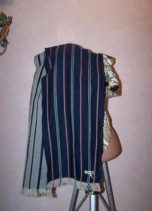 Люкс!мужской синий в полоску шарф johnston 100%меринос шотландия