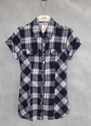 Рубашка хлопок блуза в актуальную клетку