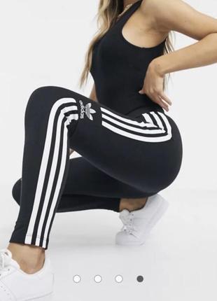 Черные леггинсы с логотипом adidas originals