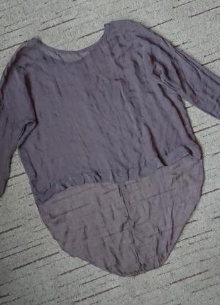 Модная шелковая кофточка, блуза с удлиненной спинкой/тонкая накидка