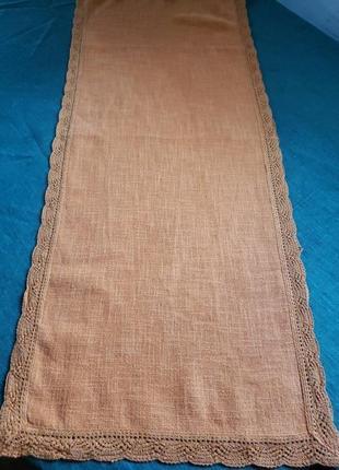 Доріжка рушничок льняний, цегляного кольору 95/39