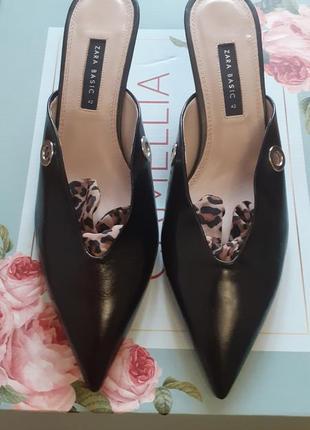 💥💥💥💥эксклюзив!!! новые! натуральные кожаные туфли,мюли от zara. производство испания!💥💥💥💥