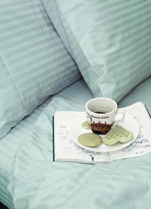Натуральное качественное постельное белье мята страйп сатин пакистан