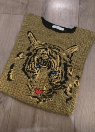 Свитер с тигром zara knit
